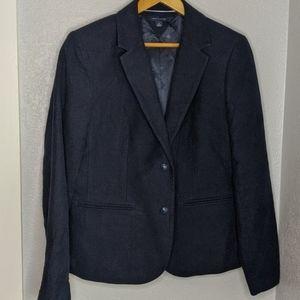 Tommy HIlfiger navy blue cotton suede blazer coat